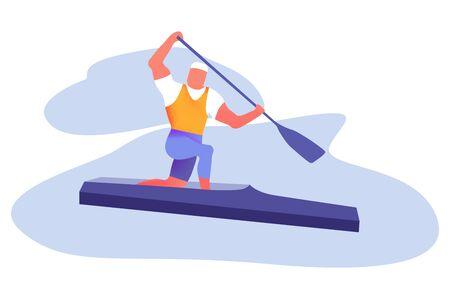 Water Sports, Active Recreation Man Flat Vector Concepts Isolated on White Background. Boat, Kayaking, Canoeing and Paddling Illustration. Kayaking Sport Competition. Sportsmen Rowing in Kayak