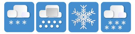 set of weather icons. winter vector elements with paper cut flat. snow and cloud isolated in blue background. Vector illustration of cloudy and snowflakes. web and mobile app. Modern 3d paper art