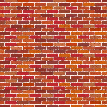 Cartoon red brick wall texture or background with stains for text. vector illustration