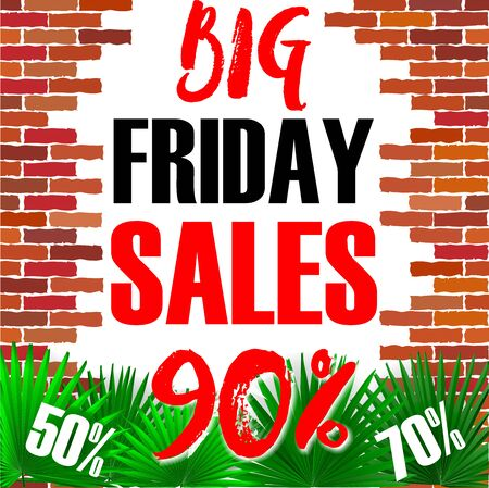 Black Friday Sale Banner Background. Advertising Poster Template. Vector illustration. Black Friday banner with tropical leaves and brick wall background. Black friday big Sale offer on grunge back