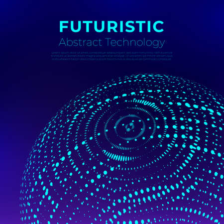 Futuristic Abstract technology background with Purple and Techno styled 3d globe
