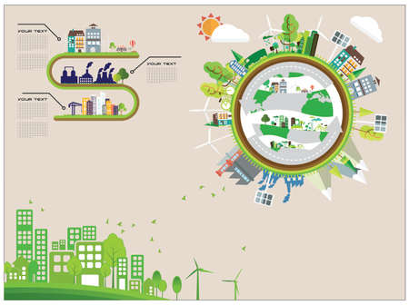 green planet: infographic ecology green planet concept Illustration