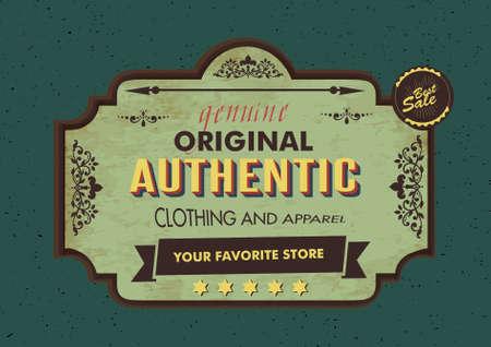 signboard design: clothes shop signboard design in vintage style Illustration