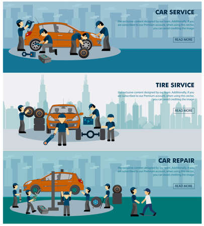 business service: car service banner sets illustration with working human
