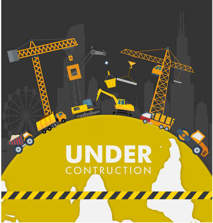 construction equipment: under construction poster with heavy equipment illustration