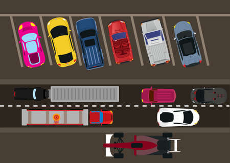hustle: car and traffic vector illustration from height Illustration