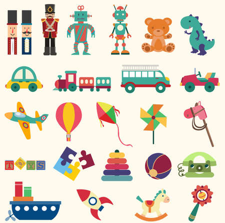 military draft: baby toys sets vector illustration in flat style