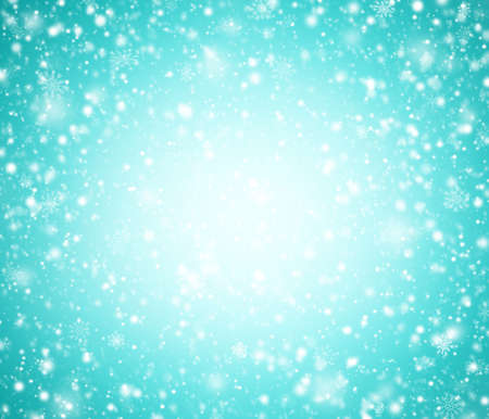 Cyan winter background with snowflakes. Stock Photo