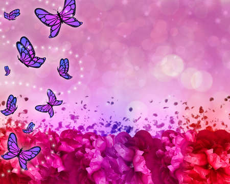 Butterfly patterned beautiful abstract background with flowers, bokeh and sparkles.