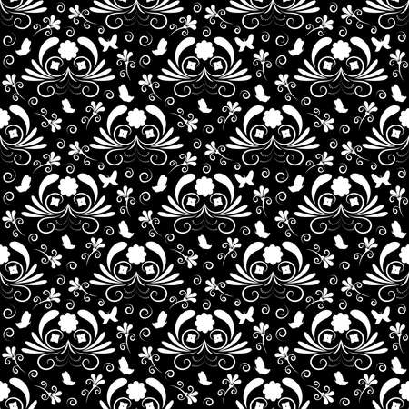 Abstract black and white floral seamless pattern with butterfly.