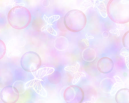 Cheerful colorful background with bubbles and butterflies. Imagens