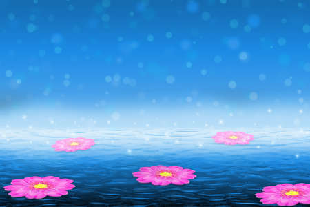 Beautiful fantasy floral background. Pink flowers floating on the water with sparkles, bokeh in the background.