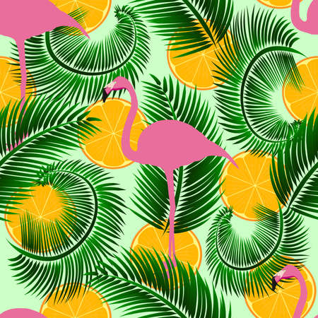 Flamingo exotic seamless vector pattern with oranges, eps 10. Background for web design, banner, poster, print. Stock Illustratie