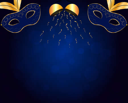 Carnival blue background with gold decorations.