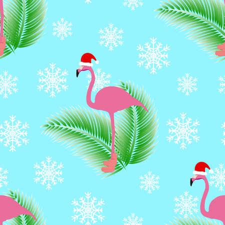 Flamingo winter style seamless pattern.