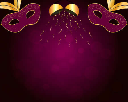 Carnival background with gilt purple mask, gold confetti ball and bokeh. Vector eps 10. Illustration