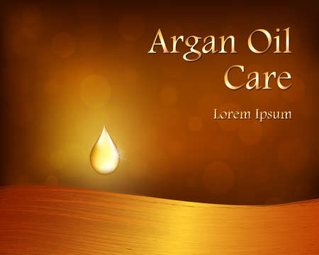 Argan Oil template with golden drop and hair, in the background bokeh. An empty space for copy. Vector eps 10.