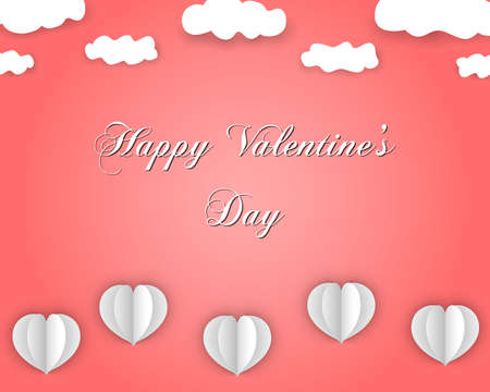 Happy Valentines Day design in paper style, with flying hearts and clouds, on coral color gradient background. Vector eps 10.