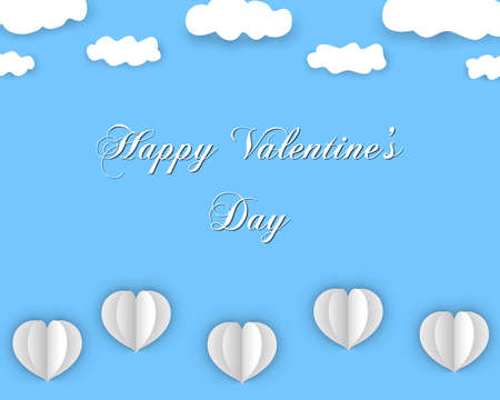 Happy Valentines Day design in paper style, with flying hearts and clouds, on blue color background. Vector eps 10. 일러스트
