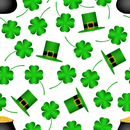 Saint Patrick's Day seamless pattern on white isolated background, with coins in cauldron, clover, green hat. Vector eps 10.  イラスト・ベクター素材