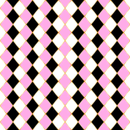 Rhombus seamless pattern with three color. White, pink and black geometric shape in golden frame. Elegant background texture. Standard-Bild - 124987913