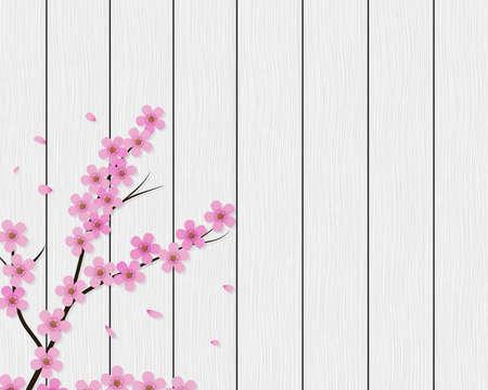 Sakura background. Floral cherry tree branch on white wood planks. Vector eps 10. Illustration