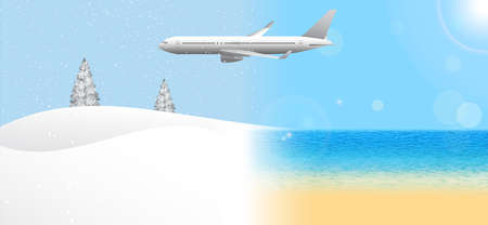 Passenger airplane flying from summer to winter. Travel from the warmer climate to the cooler. Banner concept, vector illustration.