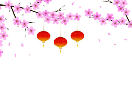 Floral design with sakura flowers and hanging red lantern. Japanese style concept on white isolated background. Behind the tree branches birds fly.