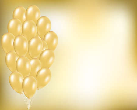 Gold festive vector background with golden balloons in bunch. Elegant concept for party, birthday, anniversary, holidays, wedding, invitation card, poster and web design. Empty space for the text.