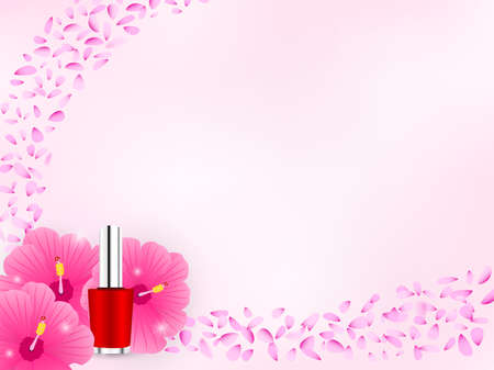 Cosmetic background with red nail polish and hibiscus flower decoration, sparkle. Floral pink design template. Flying soft petals. Space for the copy.