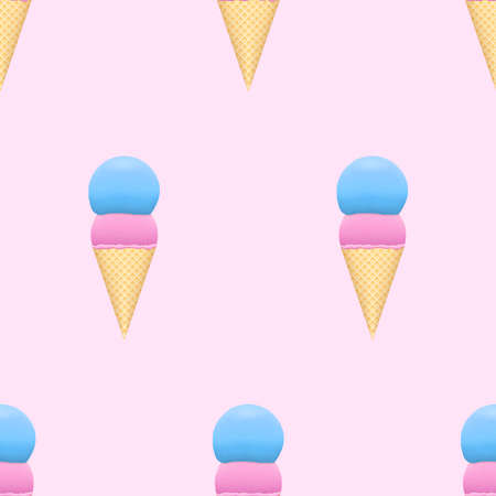 Ice cream seamless pattern on pastel color background. Pink and blue scoop in sweet wafers. Light texture design. Çizim