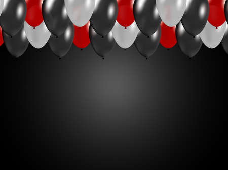 Elegant festive design. Gradient background with 3d flying red, gray and dark balloons in a row. Black friday, party, birthday, christmas sale concept. Banque d'images - 123015412
