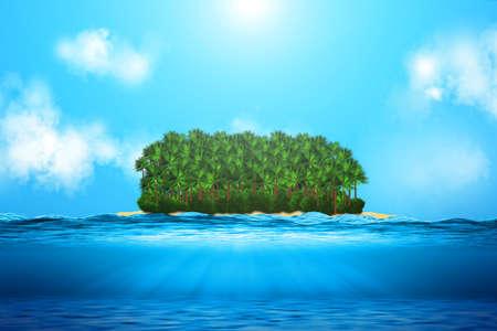 Realistic ocean underwater view, with island. Standard-Bild - 131699805