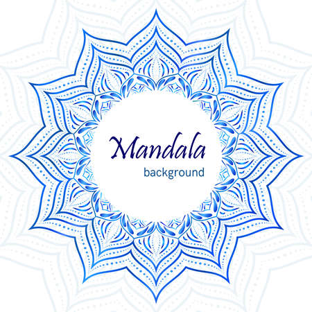 Mandala blue floral background. Çizim