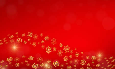 Red festive background with gold snowflakes.
