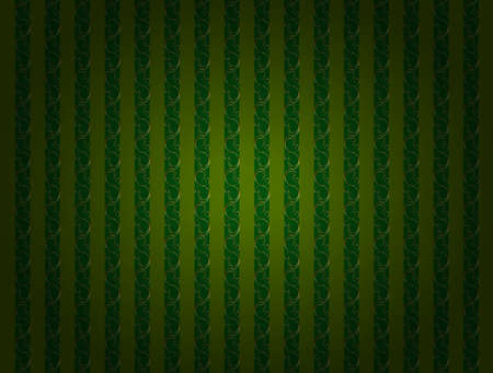 Vintage striped green wallpaper with gold decor.