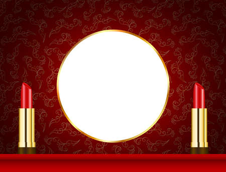 Make up template with red rouge and mirror. Stockfoto