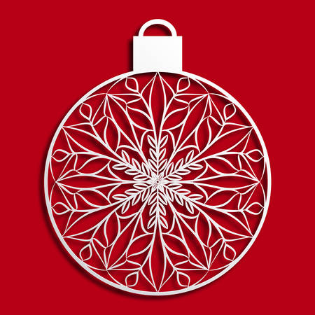 Christmas tree bauble in paper cut style. Stock Illustratie