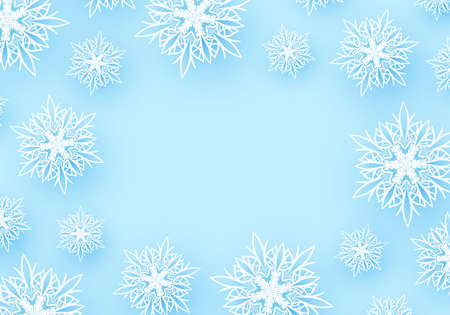 Winter background with paper snowflakes. Ilustrace