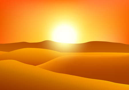 Desert at sunset.  イラスト・ベクター素材