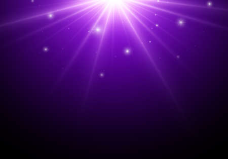 Magic dark background with blue star, lights. Ilustración de vector