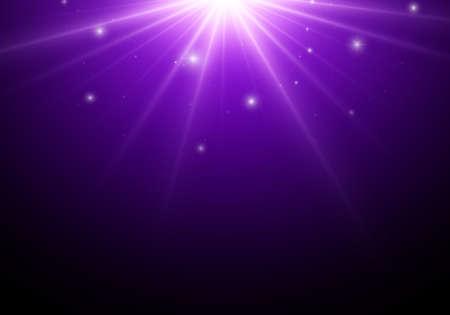 Magic dark background with blue star, lights. Vektorové ilustrace