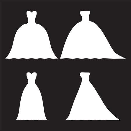 Wedding dresses silhouette on isolated background. Illustration