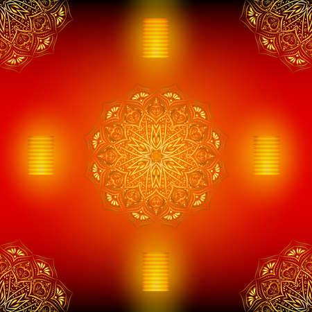 Golden mandala seamless pattern with lanterns.