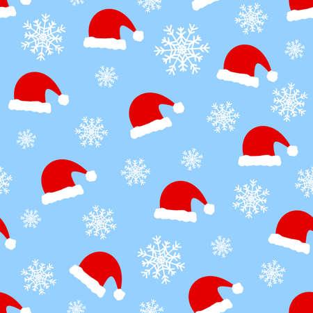 Blue christmas seamless pattern, santa claus hats.