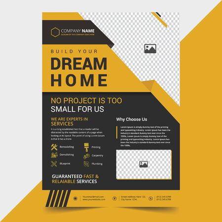 Creative Construction Flyer Template Design Illustration