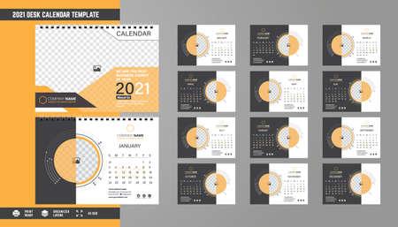 2021 Desk Calendar Template Design