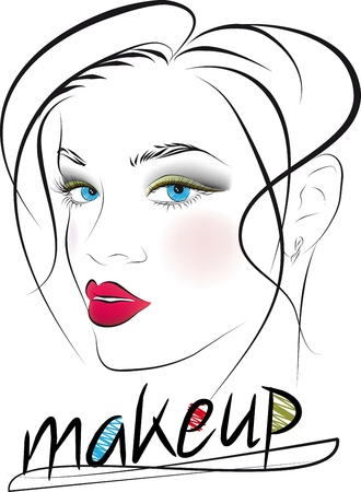 beauty make up:  Sketch of beautiful woman face. Vector illustration  Illustration