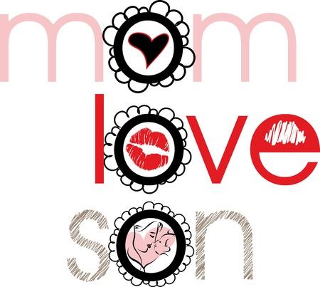Mom, love, son. Vector illustration