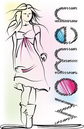clothed: Sketch di bella donna. Vector illustration